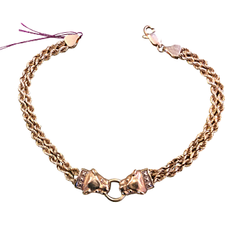 Cartier Style Panther Head 14k Yellow Gold Bracelet