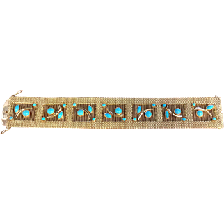 18k 1960's Woven Yellow Gold Persian Turquoise Bracelet