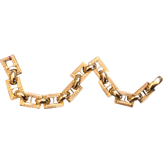 """18k Italy Textured Link Vintage Bracelet 8"""""""