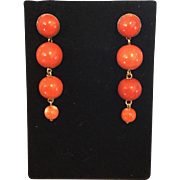 Gorgeous Red Coral Bead 14k Gold Earrings