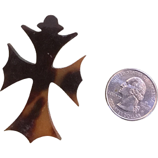 Early Victorian Gothic Tortoise Shell Cross