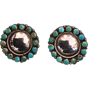 Federico Jimenez Sterling and Turquoise Clip On Earrings