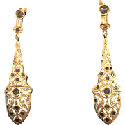 Gorgeous Victorian Rose Cut Diamond 18k Gold Filigree Earrings