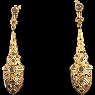 Gorgeous Victorian Rose Cut Diamond 18k Gold Filigree Earrings