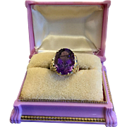 Beautiful Large Yellow Gold Amethyst Ring