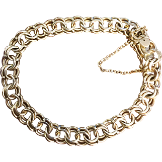 1950's 14k Yellow Gold Double Link Charm Bracelet