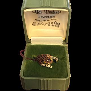 Enamel on 14k Yellow Gold Leopard Ring