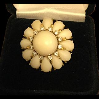 Rare Mediterranean White Coral Cocktail Ring 18k Gold