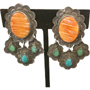 Native American Frank & Brihilda Coriz Spiny Oyster and Turquoise Sterling Earrings