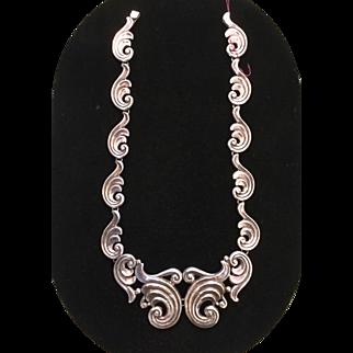 Mexico Repousse 980 Silver Pectoral Necklace Gerardo Lopez