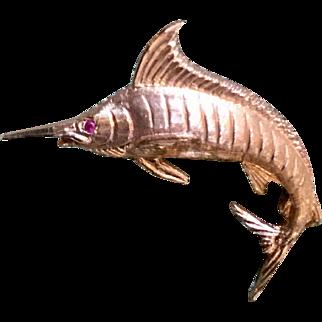 Beautiful Cast 14k Gold Marlin Fish Pendant