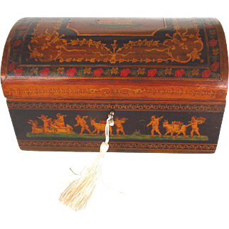 Fine 19th Century Neapolitan Casket Box with Miniature Tile Floral Inlay