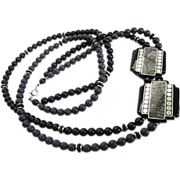 Modernist  Double Strand Gray Black Silver Monochrome Necklace