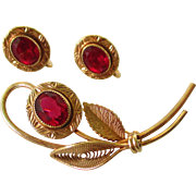 AMCO 14K GF Designer Brooch and Earring Set with Faux Rubies