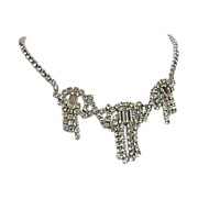 Art Deco Tasseled Paste Diamond Necklace