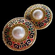 Edgar Berebi Etruscan Earrings Enameled with Faux Mabe Pearl