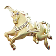 Lovely Graceful Designer Circus Horse Brooch with Rhinestone Accents Signed AJC