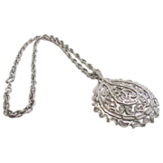 Superb Crown Trifari Silver Tone Necklace Pendant