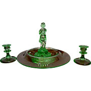 Cambridge Art Deco Light Emerald Centerpiece Set