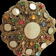 Bohemian Czechoslovakian Ornate Gilt Brooch