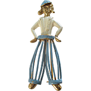 Exceptional Unique Dutch Boy Gilt Enamel Brooch