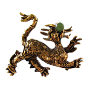 Lovely Gilt Dragon Brooch with Jade