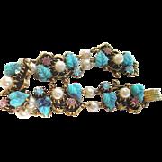 Florenza Parure Aqua Lavender Floral Motif Necklace Bracelet Earrings