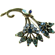 Brilliant Florenza Blue Brooch and Earring Set