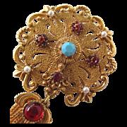 Fabulous Mint Florenza Byzantine Style Tassel Brooch with Faux Gem Stones