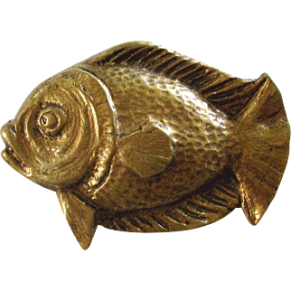Novel 1920s French Golden Fish Brooch