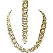 Bright Gold Tone Anchor Chain Necklace and Bracelet