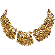 Hobe' Floral Repousse Bib Necklace
