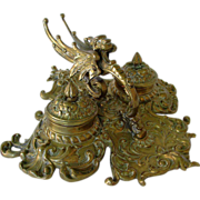 Antique Victorian Inkwell Griffin and Green Man