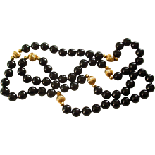 14K Gold and Natural Onyx 32 Inch Estate Necklace