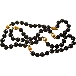 Natural Onyx and 14K Gold Necklace 32 inch