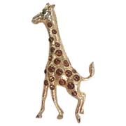 Kramer NY Figural Animal Giraffe in Gilt and Cabochons