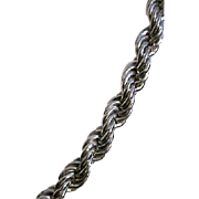 Exquisite Wide Monet 25 Inch Silver Tone Rope Necklace