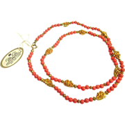 Rare Mr. John Gone With the Wind Designer Gold Tone and Tangerine Coral Tone Beaded Necklace
