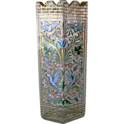 Exceptional Delight - 19th Century Bohemian Moser Enameled Jeweled Crenelated Vignette Vase