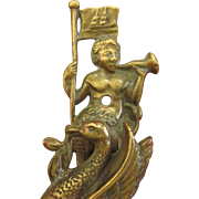 Rare Antique English Neptune Door Knocker