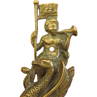 1909 English Liverpool Neptune Door Knocker