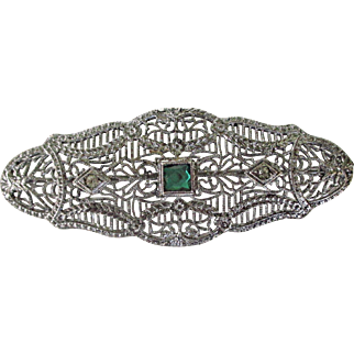 Ostby Barton Sterling Filigree with Emerald and Diamond Paste Stones