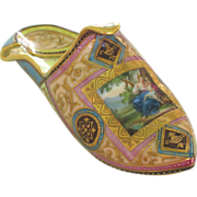 Exceptional Antique Porcelain Slipper Pantoffel with Hand Painted Scene