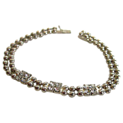 1930s Silver Tone Bead and Rhinestone Bracelet