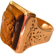 Exceptional Mythological Rose Gold Tiger Eye Ring of Herakles in Lion Skin Head Dress