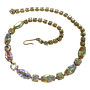 1950s Gold Tone Necklace with Large Rhinestones