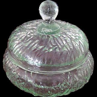 Art Deco Uranium Glass Powder Jar