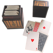 Victorian Bridge or Playing Card Decks and Wooden Box Holder c1890