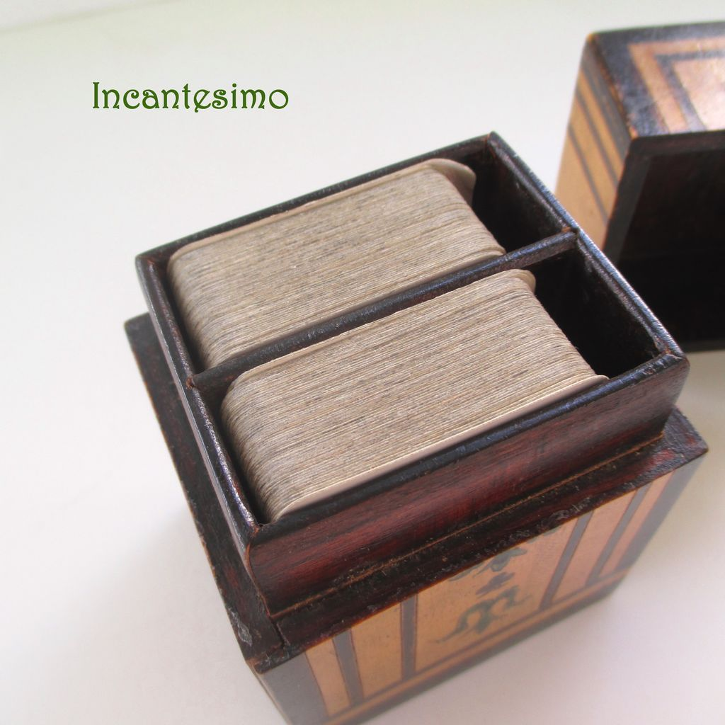 Victorian Bridge or Playing Card Decks and Wooden Box Holder c1890 ...