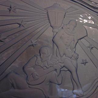 Exceptional Art Deco Walther & Sohne Art Glass Vanity Pierrot Pierrette